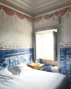 """Katie Armour Taylor on Instagram: """"Headed to bed at the lovely @palaciobelmonte in the dreamiest room on earth. I nearly died when I checked in this morning. The frescoes!…"""" Spain And Portugal, Fresco, Tiles, Bed, Instagram Posts, Room, Earth, Armour, Paneled Walls"""