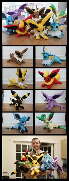 Eeveelutions Plushies by NsomniacArtist- I've gotta figure out a pattern for these cuties!