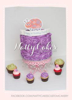 © Natty Cakes Custom Cakery   Buttercream rosette cake, ladybug theme 1st birthday