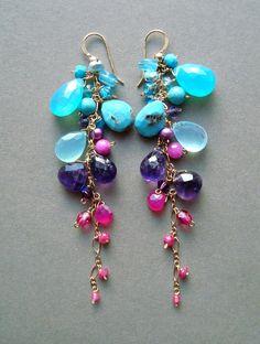Bought this one . Colorful Gemstone Dangle Earrings Aqua Purple by BellaAnelaJewelry Diy Schmuck, Schmuck Design, Bead Earrings, Gemstone Earrings, Chandelier Earrings, Plastic Earrings, Paper Earrings, Garnet Earrings, Earrings Online