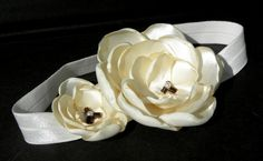 hair band for for CHILDREN and BABIES with the satin flowers  by CuteHairBand,