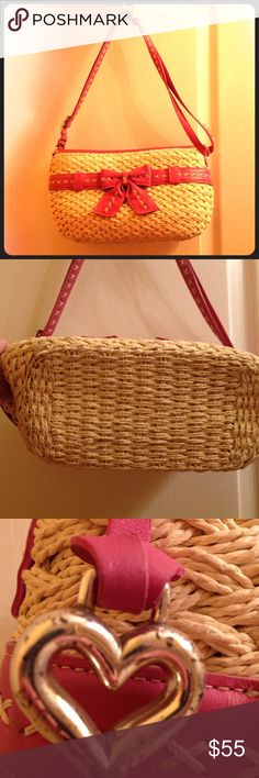 Beautiful Brighton Leather and Straw Bag Very clean inside and out - just a little wear on the silver buckles and heart charm Brighton Bags Shoulder Bags