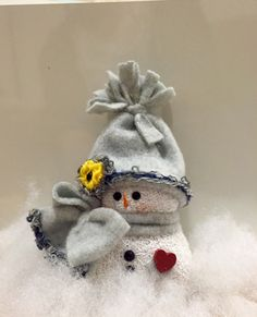 Single Mini Snowman in gray (approx. inches tall) by MooreDesignsbyJulie on Etsy Sock Snowman, Make A Snowman, Snowman Crafts, Snowman Ornaments, Christmas Activities, Christmas Projects, Holiday Crafts, Christmas Crafts, Christmas Ornaments