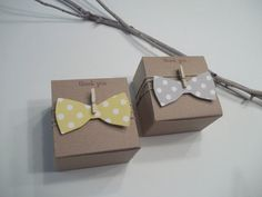 Custom Order: Little Man Shower Bow tie favor boxes gray and yellow polka dot 3x3x2 inch kraft