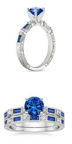 White Gold Vintage Sapphire & Diamond Matched Set
