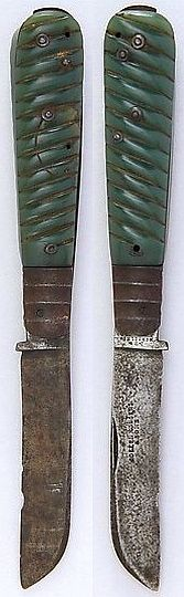 Persian chaqu (clasp knife) (Chaqu), ca. 1825 to 1900, British blade, jade, steel, L. 8 1/4 in. (21 cm); L. of grip 4 5/8 in. (11.7 cm); W. 1 in. (2.5 cm); Wt. 6.5 oz. (184.3 g), Met Museum, Bequest of George C. Stone, 1935.