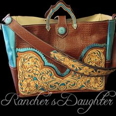 Diaper bag/over night tote. Find us at Rancher's Daughter Design on FB! Callie makes the BEST- CUSTOM stuff! Leather Tooling, Leather Purses, Leather Handbags, Leather Bag, Tooled Leather, Tote Handbags, Purses And Handbags, Fashion Bags, Fashion Accessories