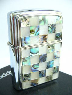 Green White Mother of Pearl Zippo Lighter