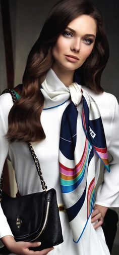 Class never goes out of style. / Aker Scarf / Dress / Bag F/W Ways To Wear A Scarf, How To Wear Scarves, Look Fashion, Womens Fashion, Fashion Trends, Moda Formal, Hijab Style, Scarf Dress, Turbans