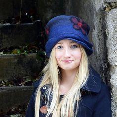 Unique felt hats Blue felt hat wool hat ooak hat nuno by jannio