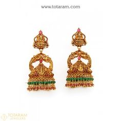 Temple Jewellery - 22K Gold 'Lakshmi' Jhumkas - 22K Gold Dangle Earrings - 235-GJH1466 - Buy this Latest Indian Gold Jewelry Design in 20.100 Grams for a low price of  $1,029.69