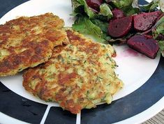 The season of zucchini has arrived! I have made zucchini no less than 4 times already in either a baked, broiled or fried form. We are gonna eat zucchini till we turn green. I was looking for something different to make and this fit the bill. Fried Zucchini Cakes, Fried Zucchini Recipes, Yummy Vegetable Recipes, Vegetable Cake, Zucchini Fries, Healthy Recipes, Zucchini Pancakes, Cooking Recipes, What's Cooking