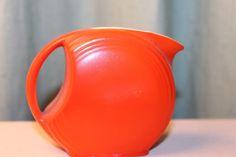 "Vintage Bright Red Orange Mini Disc Pitcher white interior 3"" tall Hall McCoy"