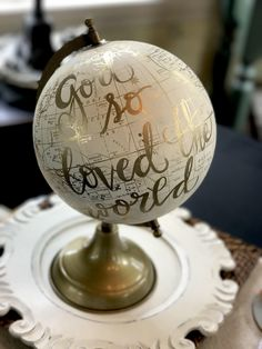 Custom Wedding Guestbook Calligraphy Globe / Choose Wording / Globe Finish in White and Gold Globe or Whitewashed / Wedding Guestbook globe Gold Globe, Kelly Wearstler, Plywood Furniture, Baby Birth Information, Spirit Lead Me, Overcome The World, Gold Calligraphy, Black Chalkboard, The Best Is Yet To Come