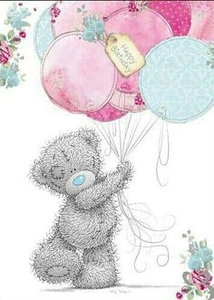 Tatty Teddy Holding Balloons Birthday Me to You Bear Card