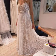 A-Line Spaghetti Straps Light Champagne Beaded Prom Dress with Lace Appliques