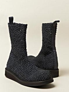 boots, black, textured