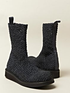boots, black, textured