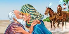 Pharaoh invites Joseph's family to move to Egypt. Jacob and Joseph are finally reunited. While in Egypt, the Israelite nation grows and becomes numerous. Bible Pictures, Jesus Pictures, Bible Art, Bible Scriptures, Joseph In Egypt, Black Hebrew Israelites, Night Sky Photos, Bible Coloring Pages, Biblical Art