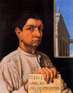 """Giorgio de Chirico (1888-1978) : """" Autoritratto 'Et quid amabo' """" , 1920 , oil on wood , Pinakothek der Moderne , Munich  ."""