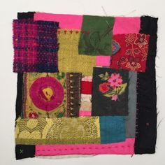 Some new textile collages with a red  square at the centre. These bring together some of my most precious scraps.