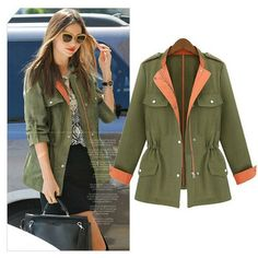 Women's Spring Autumn Winter Fashion New Style Long Sleeve Patchwork Trench, Women's Jacket 8636