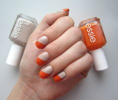 Essie Orange and Beige Nails