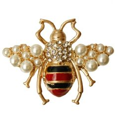 a72941120fb Gold Bee Pin with Red and Black Stripes and Rhinestones - Gold Bee Pin with  Red