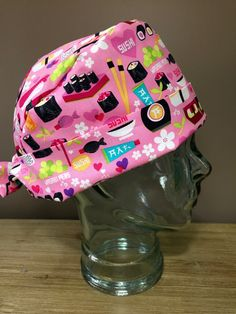 Custom Cap's Regular Scrub Hats in Pink Sushi by CustomCapsCompany on Etsy