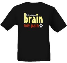 Brain Not Pain - these shirts fund a program that allows dog owners to turn in their shock, prong or choke collar and get a free loose leash walking lesson.  Great idea,