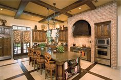 Design 9267 - Grand Manor.  Floor tile patterns mimics the ceiling beams.