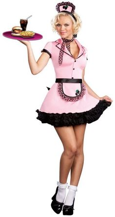 Sexy Car Hop Costume Stretch Satin Dress**Black petticoat not included.HatApronPolka Dot Neck ScarfWhen you wear this sexy car hop costume, everyone wi Hallowen Costume, Cosplay Costumes, Costume Ideas, Waitress Outfit, Button Front Dress, I Love Makeup, Costume Shop, Sexy Cars, Costume Accessories