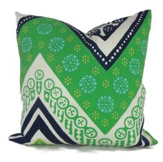 Trina Turk Green Tangier Frame Designer  Indoor Outdoor Pillow Cover, Schumacher, 18x18, 20x20,22x22