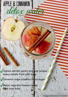31 Detox Water Recipes for Drinks To Cleanse Skin and Body. Easy to Make Waters and Tea Promote Health, Diet and Support Weightloss | Apple Cinnamon Detox Water