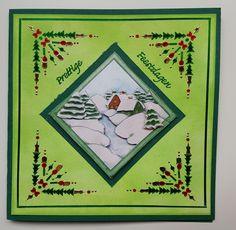 Hobbydots kerst kaart. Achtergrond gemaakt met Distress Inkt Oxide. Patroon uit pakje Dots en Do 15.