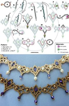 seed bead jewelry patterns for beginners Beaded Necklace Patterns, Lace Necklace, Bracelet Patterns, Beaded Bracelets, Pandora Bracelets, Crystal Bead Necklace, Antique Bracelets, Peyote Beading, Jewelry Making