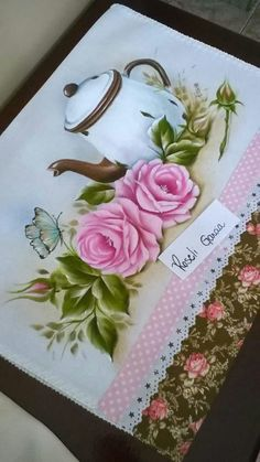 34 Ideas For Shabby Chic Clothes Pastel Tole Painting, Fabric Painting, Fabric Art, Beautiful Flowers Wallpapers, Floral Drawing, Victorian Art, Painting Patterns, Flower Tutorial, Easy Drawings