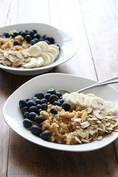 Superfood Quinoa Breakfast Bowl. Ingredients: 3/4 C cooked quinoa, 1/2 C blueberries, 1/2 banana, 1/8 C almonds, 1 T hemp seeds, 1 T maple syrup, 1/2 t cinnamon