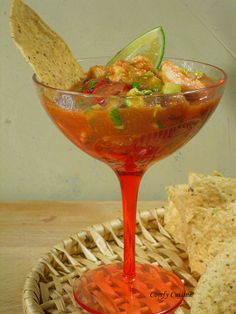 Mexican shrimp cocktail - So yummy!! It's like salsa with shrimp, avocado and cucumber.