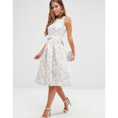 ASOS PETITE WEDDING Jacquard Midi Prom Dress ($130) ❤ liked on Polyvore featuring dresses, petite dresses, calf length dresses, pleated dress, petite midi dress and petite prom dresses
