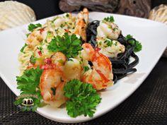 Kolorowe spaghetti z krewetkami Wok, Shrimp, Meat