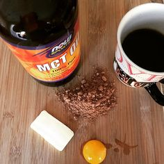 What does your first cup of #coffee look like? This is my modified #bulletproof recipe. MCT oil, grass fed butter, an egg yolk and raw cacao powder. #energy #fireup #riseandgrind #weightloss #paleo #primal
