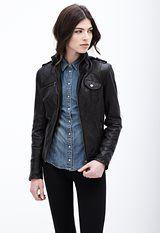 Danier Vanessa lamb leather jacket #fallfashion #leather #denim