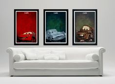 "Disney Pixar Cars custom poster print set of 3 - 12""x18' matte- Lightning Mcqueen, Mater, Finn Mcmisslie"