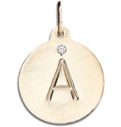 """""""A"""" Alphabet Charm with Diamond"""