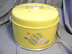 Vintage Classic Metal Cake Carrier Saver Yellow with Painted Design Good Shape | eBay