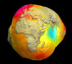"""The Real Earth"" -- Image from Space With Gravity Field in Effect           The ""Potsdam Gravity potato"", as this image of terrestrial gravity has become known, can for the first time display gravity variations that change with time."