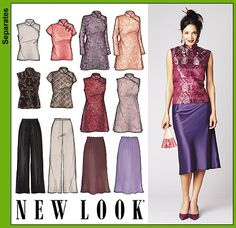 Purchase New Look 6203 Misses Evening Tops, Tunics, Skirt and Pants and read its. - New Ideas Clothing Patterns, Dress Patterns, Sewing Patterns, New Look Patterns, Sewing Blouses, Make Your Own Clothes, Evening Tops, Frack, Chinese Clothing