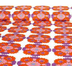 """Vintage Stoffe - 70er Stoff Baumwolle """"Blumenkreisel"""" ... - ein Designerstück von VintageGoods bei DaWanda"""