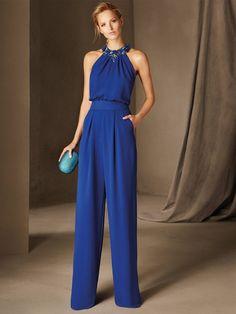 Pronovias > BELGICA - Cocktail jumpsuit, sleeveless, halter neck, in crepe Dresses Uk, Evening Dresses, Formal Dresses, Party Dresses, Cocktail Jumpsuit, Cocktail Dresses, Blue Jumpsuits, Occasion Dresses, I Dress